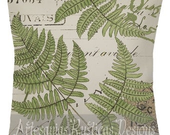 French Botanical Pillow 100% Cotton Canvas & Burlap Ferns Vintage Script Stamps Throw Pillow Cover Euro Sham