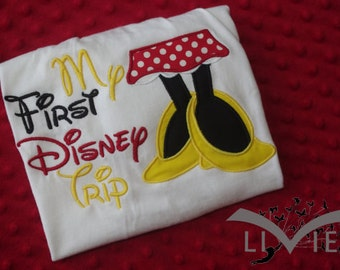 My First Disney Trip Appliquéd Shirt-- Minnie, Mickey, Daisy, or Donald