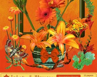 Tangerine Tango Splash Digital Scrapbook Bundle - Instant Download