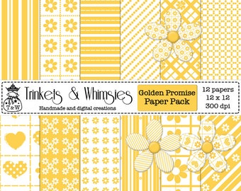 Golden Promise Digital Scrapbook Papers - Instant Download