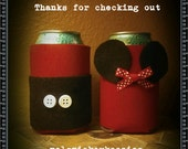 Pair of Mickey and Minnie can koozies