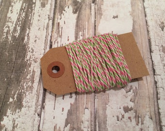 10 Yards of Watermelon Baker's Twine, Tri-Color Baker's Twine, Pink, Green & White Baker's Twine