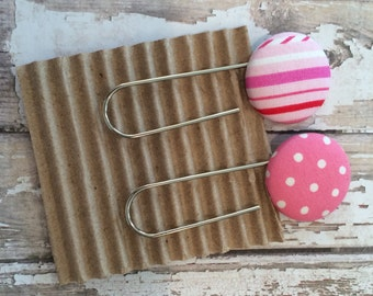 Last One! Pair of Jumbo Paperclip Bookmarks, Fabric Covered Buttons, Pink, Red & White Striped and Pink and White Polka Dot