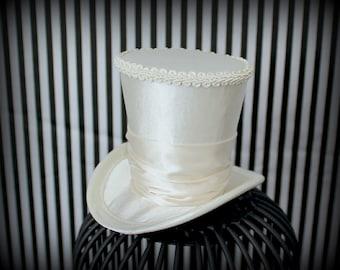 Ivory Mini Top Hat, Mini Top Hat , Mad Hatter Hat , Kentucky Derby Fascinator Hat , Mini Hats , Tea Party Hat , Wedding Hat , Women Top Hat