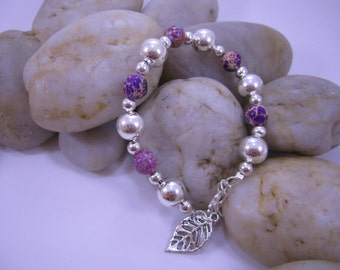 Purple Sea Sediment Jasper & Silver Ball Bracelets