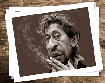 Serge Gainsbourg, singer-songwriter, digital printing, brown illustration, caricature, humor, poster  8.5 x 11 inch (216 mm x 279 mm)