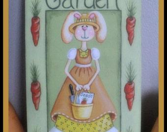 Garden sign, Spring, Summer, Bunny pattern instant download