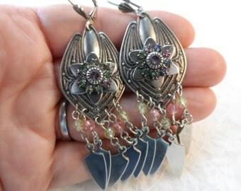 """Vintage silver large chandelier earrings,2&7/8""""+wire,jwl07"""