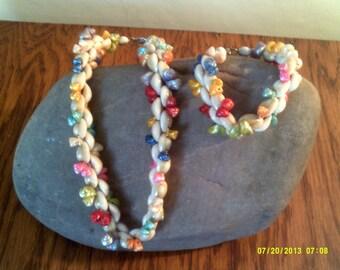 Vintage Mid Century Small Shells Florida Choker and Bracelet, Shell Necklace, Shell Bracelet, Shell Choker, Florida Jewelry, Shell Jewelry