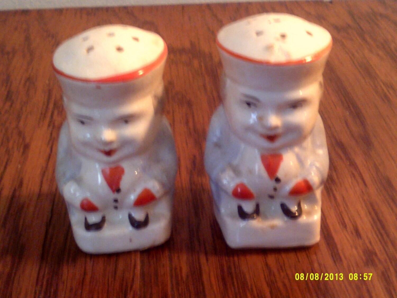 Vintage Porcelain Toby Salt And Pepper Shaker Set Made In