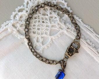 Floral Charm Bracelet, Antique Brass, 8 inches, 20 cm