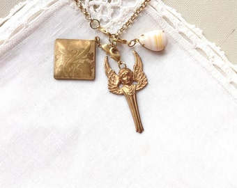 Art Deco Angel Charm Necklace, Matte Gold Tone, 25.5 inches, 648 mm
