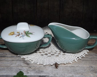 Vintage Creamer and Sugar Bowl/Green and White with Floral Design/Mid Century Creamer and Sugar Bowl Set