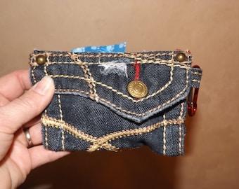 Upcycled Denim Doggie Waste Bag Dispenser/ Pooch Pocket/Pampered Pooch Accessory for Leash