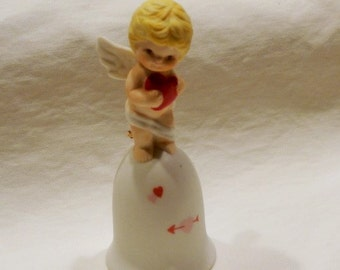 Vintage RUSS Porcelain Cupid Bell, Made in Taiwan