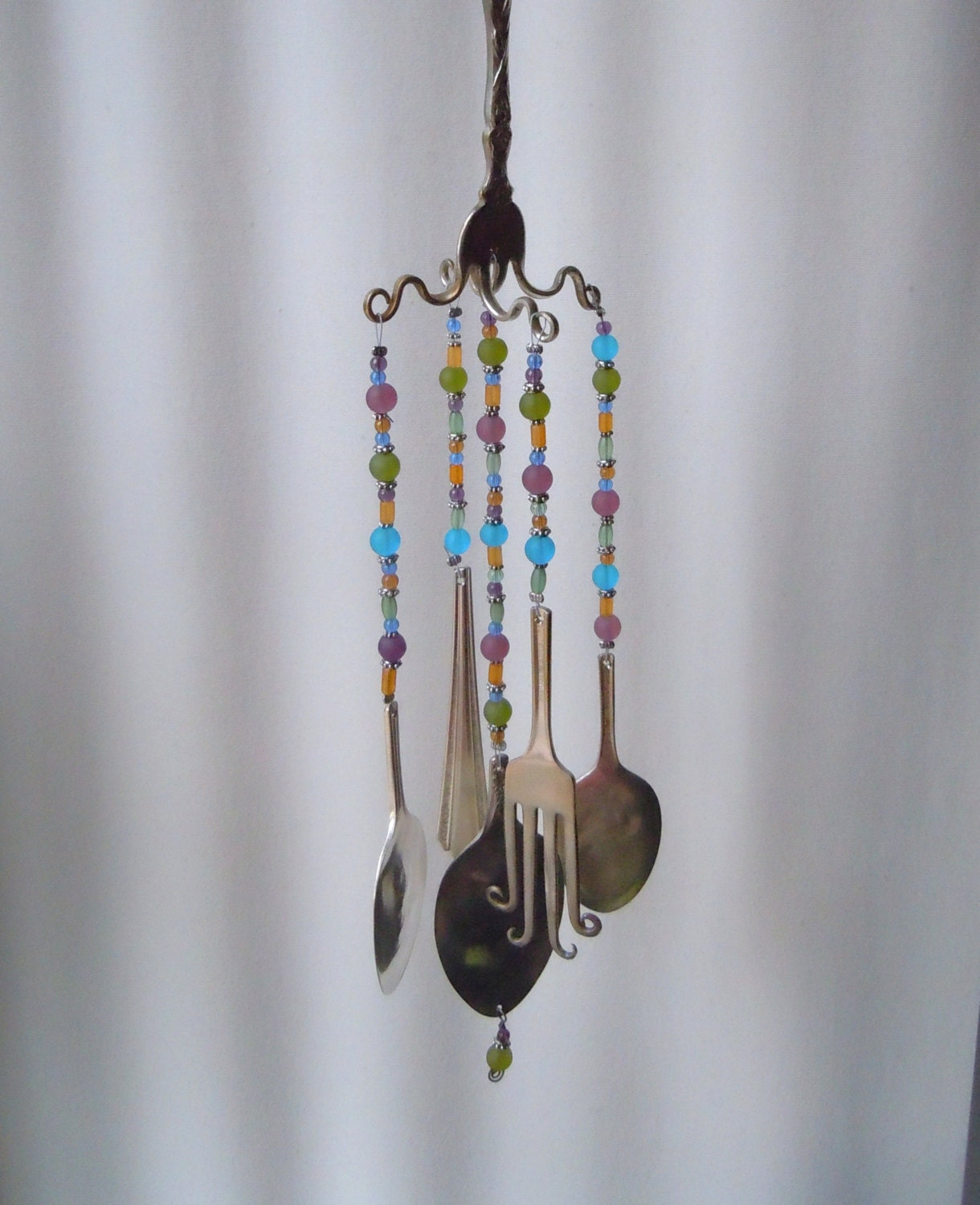 Twisty fork vintage silverware wind chimes for How to make a windchime out of silverware
