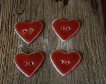 Set of Four Red Heart Ceramic Buttons