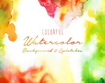 Watercolor Background and Splotches - digital printable item - 300 dpi PNG and JPG