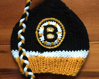 Hand Knit Boston Bruins Baby Boy or Girl Hat - Great Photo Prop