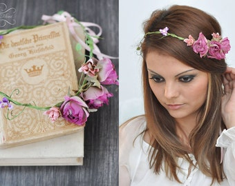 items similar to braut blumenkranz hochzeit haarband blumen haarschmuck elfenkrone in pink. Black Bedroom Furniture Sets. Home Design Ideas