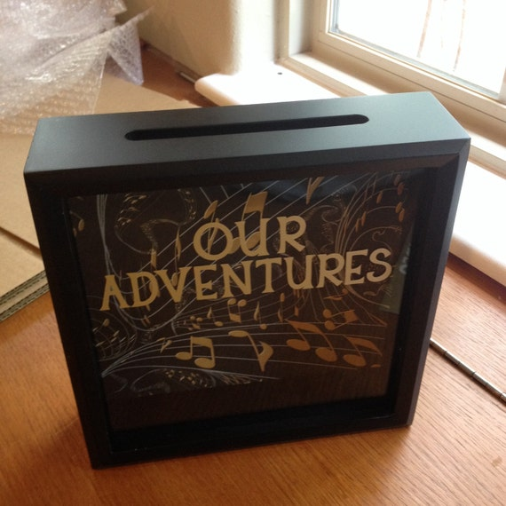 our adventures ticket stub shadow box 8x8 girlfriend gift. Black Bedroom Furniture Sets. Home Design Ideas