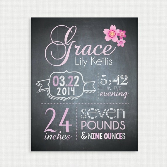 Nursery Wall Decor - Baby Birth Announcement Poster - Custom Girl Nursery Art, Chalkboard Baby Print - 8x10 Digital Print