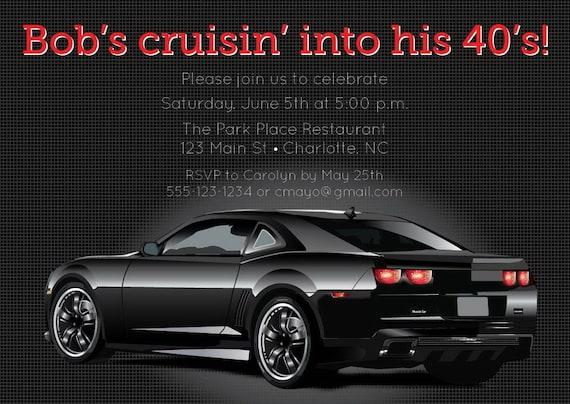 Adult Birthday Invitation Digital Printable Car Birthday