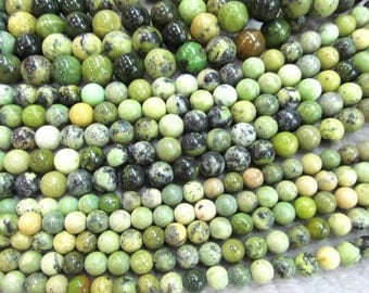 4 6 8 10 12 14mm full strand  genuine chrysoprase beads round ball green olive connector beads