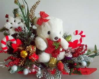 Christmas Arrangement, Christmas Centerpiece, XL Holiday Sleigh With Teddy Bear, Red Sled