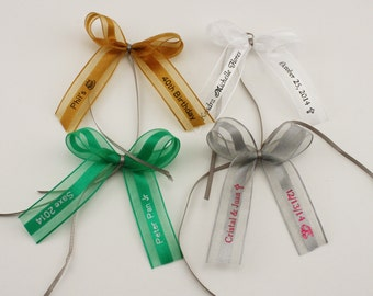 """50 Made Bows Personalized Ribbon 1.5"""" Organza and Satin Party Wedding Baby Shower Favor"""