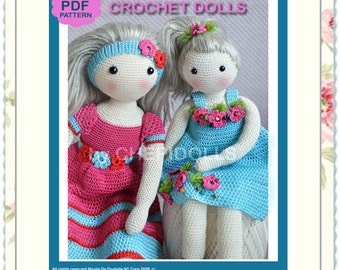 PATTERN TWO in ONE crochet doll pattern ( 13 & 17 Ins tall Chepidolls Bodies and their outfit patterns Include )