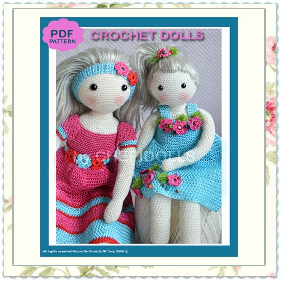 Crochet Doll Pattern Easy : PATTERN TWO in ONE crochet doll pattern 13 & 17 Ins tall