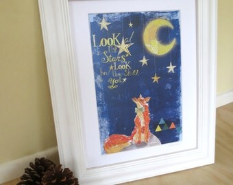 Art print of orange fox staring at the night sky, look at the stars, coldplay lyrics