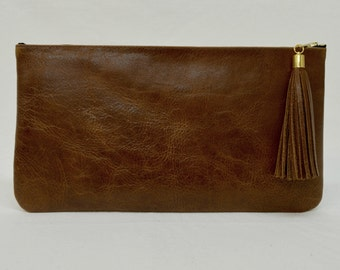 Leather Clutch,Purse,Pouch,Tassel, Brown