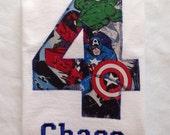 AVENGERS BIRTHDAY Shirt. Kids Appliquéd Personalized T-shirt. Marvel, Captain America, Hulk, Iron Man, Spider-Man, Thor PARTY