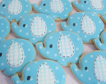 Spotted Elephant Baby Shower Cookies - Birthday Party, Nursery Party Cookie Favors, Elephant Theme, Animal Jungle Theme Custom Sugar Cookies