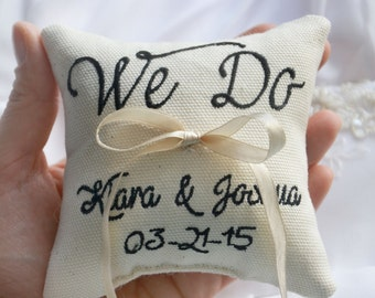 Personalized Wedding ring pillow , we do wedding pillow , ring pillow, ring bearer pillow, Custom embroidery (LR32)