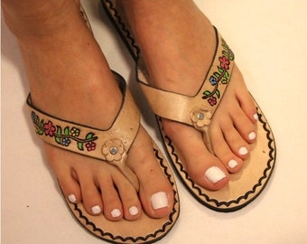 Size 6 US and 9 US- Flowers Brown Leather Mexican Shoes-Flip Flops-Sandals-Hippie-BOHO- Tribal- Shoes- Summer