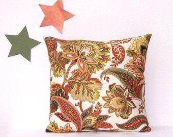 "16"" Gold Green Paprika Cream Decorative Pillow Cover, Floral Accent Toss Pillow, Sofa Cushion Cover, Pillow Sham"