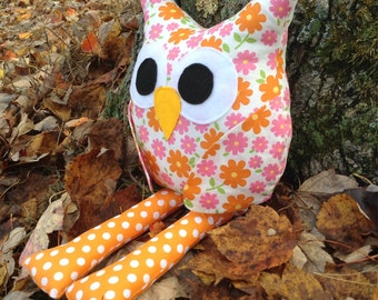Owl toy/plush/decoration - orange and pink flowers
