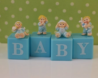 Baby Boy Block Cake Topper/ baby shower/ baby topper