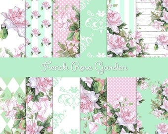 French Rose Garden Digital Paper Pack | Pink Roses | Mint Green | Instant Download