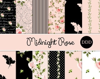 Midnight Rose Digital Paper Pack | Pink Roses | Instant Download
