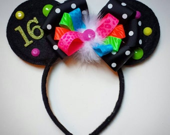 Custom Birthday Minnie Mouse inspired Ears