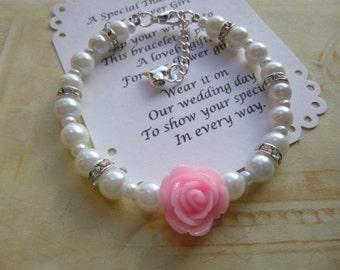 Pearl Flower Girl Bracelet, Flower Girl Gift, Flower Girl Jewelry, Childrens Pearl Bracelet, Pearl Kids Bracelet, Pearl Girls Bracelet