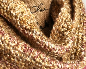 SALE--Gift Ideas for Her/Wife Gift/Girlfriend--Rose/Golden Brown/Olive--Feminine Women's Multicolor 50 Inch Vertical Stripe Infinity Scarf