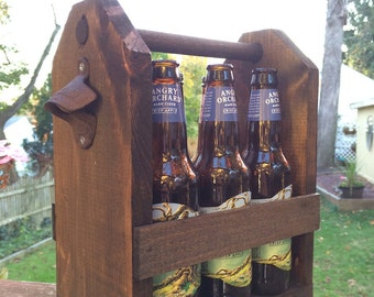 Wooden Beer Caddy #6 - Dark Stain