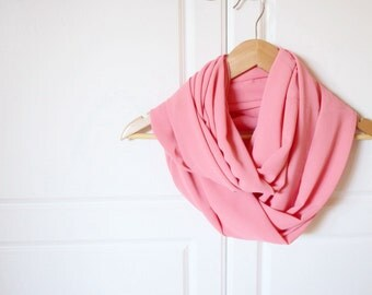 Infinity Scarf, circle scarf, mom gift,  girlfriend gift, Ready to ship, Chiffon coral peach pink- Sheer light weight, teen girl gift
