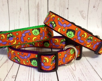Owls, Bats & Frankenstein Halloween Dog Collar
