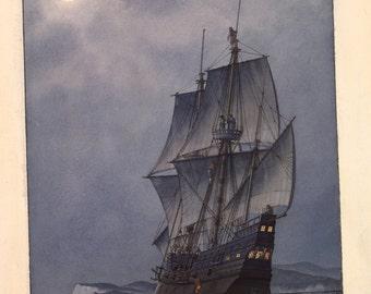"Sir Francis Drake ""Golden Hind"", off the northern California coast, 1577"